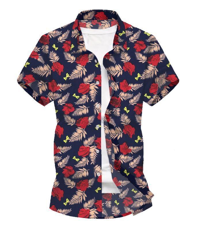 Casual New Chemises modèle Party Chemisier des hommes d'Hawaï de plage sociale Chemise hawaïenne pour les garçons Bleu Rouge