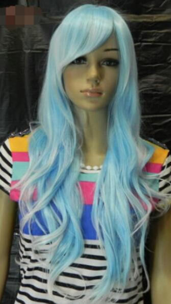 FREE SHIPPING+ + + Women Light Blue & White Mix Wavy Japan Kanelao22 Long Hair Full Wig Cosplay
