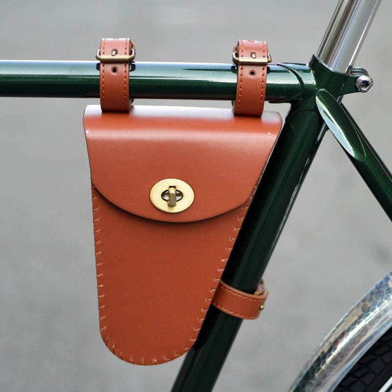bolsa mensageiro de bicicleta retro com saco de bicicleta triângulo feixe saco de estrada de ciclismo couro ferramenta nost MX200717