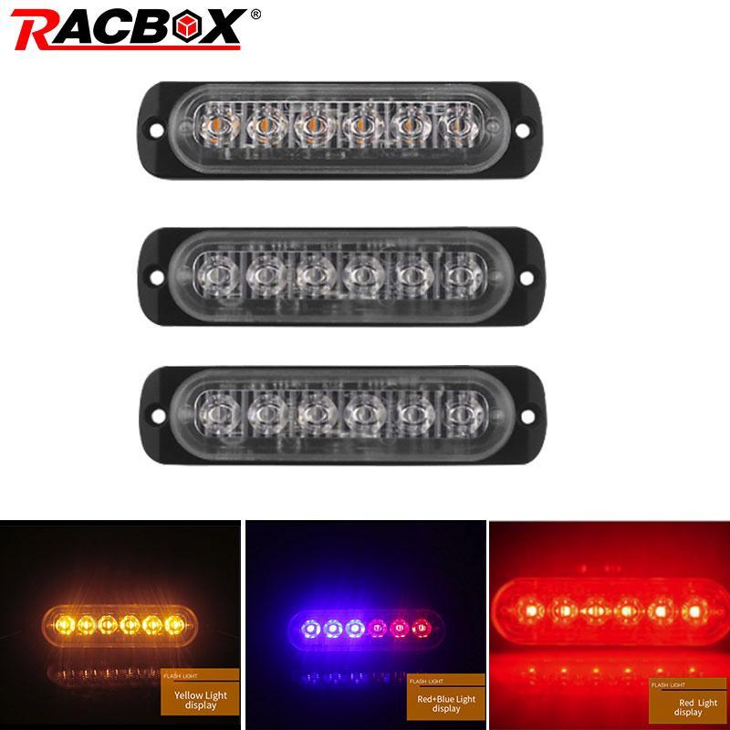 18W 6 LED giallo auto Rosso Bianco motociclo del camion Beacon emergenza Attenzione Hazard Flash Strobe sottoscocca Girare Light Bar DC12 24V