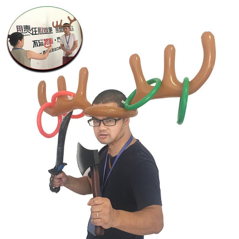 플라스틱 풍선 산타 재미 사슴 뿔 모자 링 던지기 크리스마스 휴일 파티 게임 완구 도매 공급