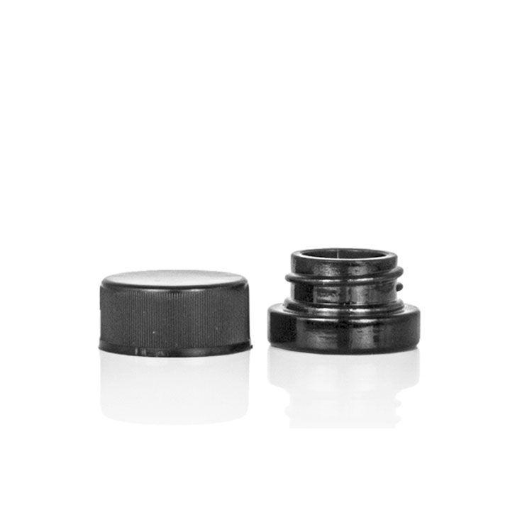 DHL gratuit 5ML Dab Container Pot en verre noir en vrac avec couvercle classique à vis pour les épices en vrac feuilles entières Thé café sur mesure Accepter