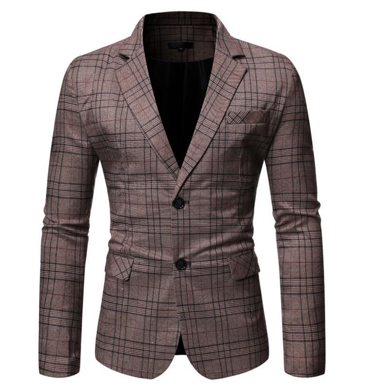Primavera Autunno lusso Blazer 2019 rivestimento casuale del vestito di affari del cotone Slim Fit, aumentato Formato degli uomini M-5XL Plaid Blazer