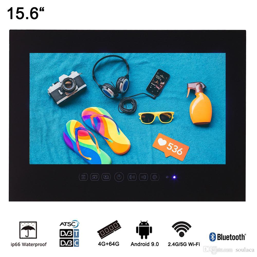 Soulaca 15.6 인치 블루투스 WiFi와 블랙 안 드 로이드 9.0 욕실 IP66 방수 스마트 LED TV 인테리어 방수