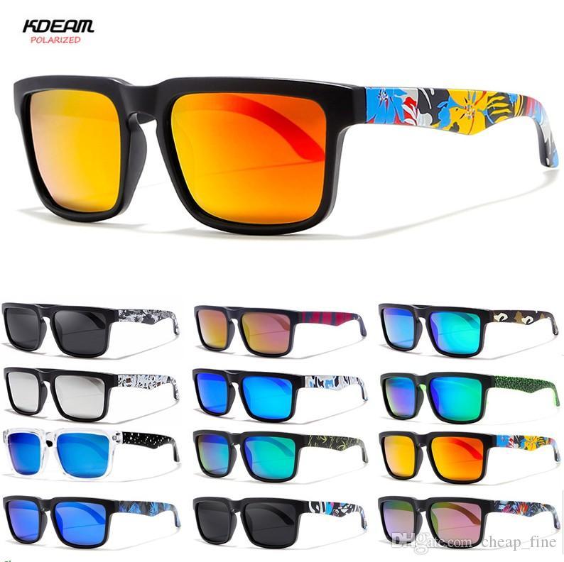 Polarisierte Sonnenbrille-Männer 2019 KDEAM Platz Printed Leg Männer Glas-Klassiker Male Sport Spiegel Sunglass 2501