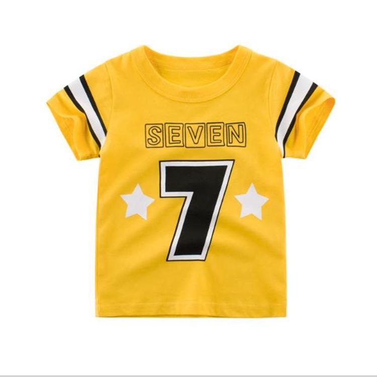 2020 yeni varış çocuk tişört moda çocuk o-boyun yaz giysileri toptan çocuk kısa kollu renk engelleme gömlek 1-6 yaşında üst