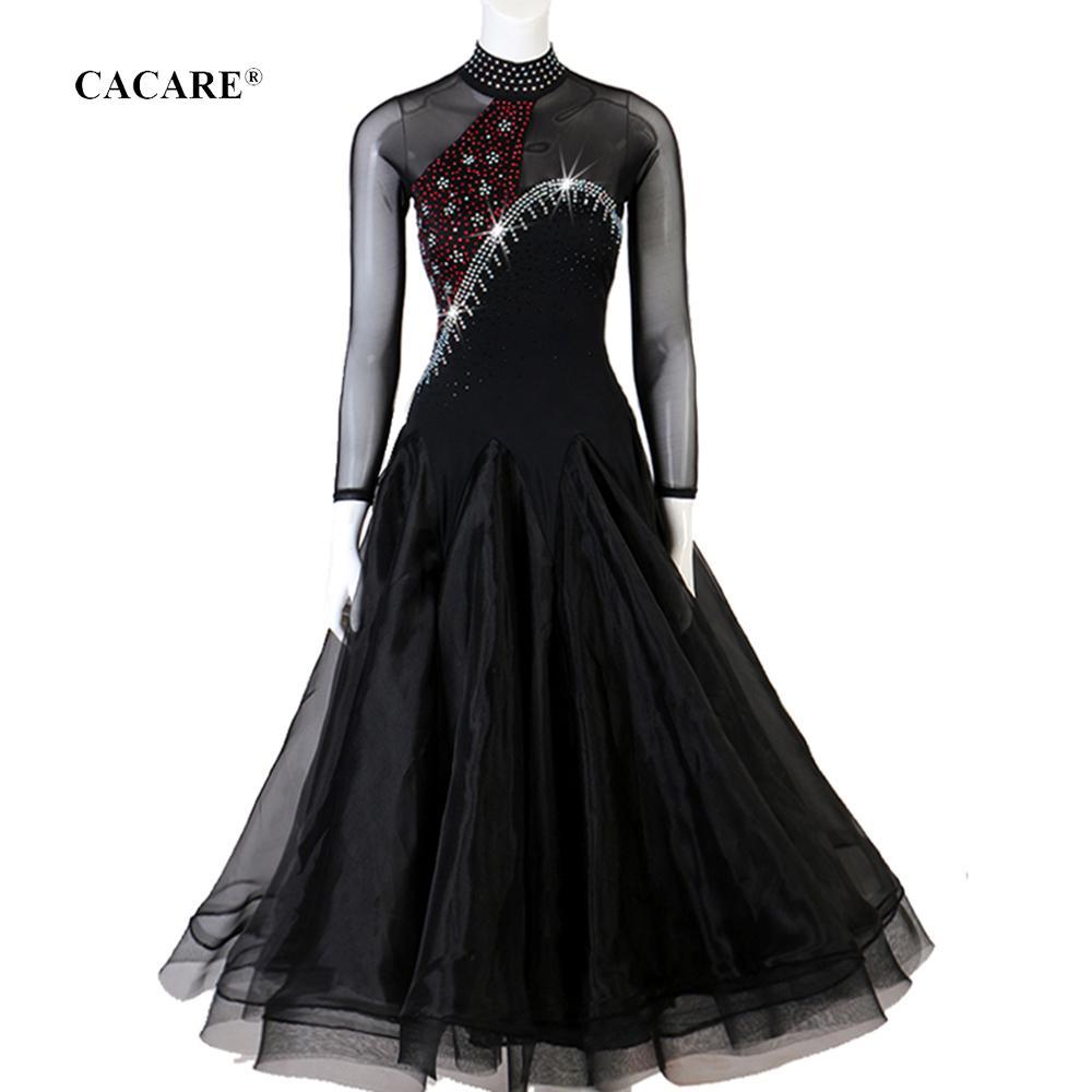 Competencia de baile vals vestido de baile vestidos de Tango Flamenco danza del estándar vestidos D0720 largo mangas de malla dobladillo grande Sheer