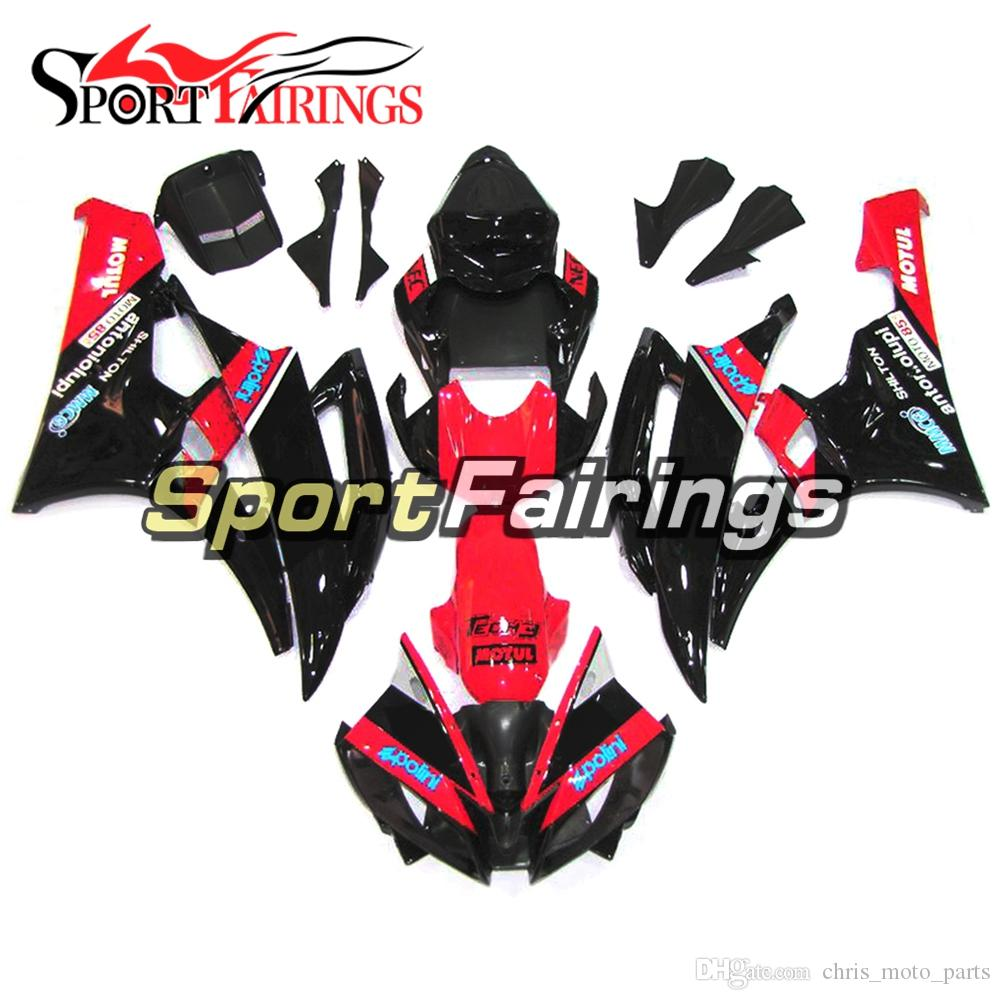 Moldeo por inyección de ABS Cubiertas completas negro rojo completo para Yamaha YZF-600 R6 Año 2006 2007 ABS Plastic Fairing Kit 06 07 R6 Body Works