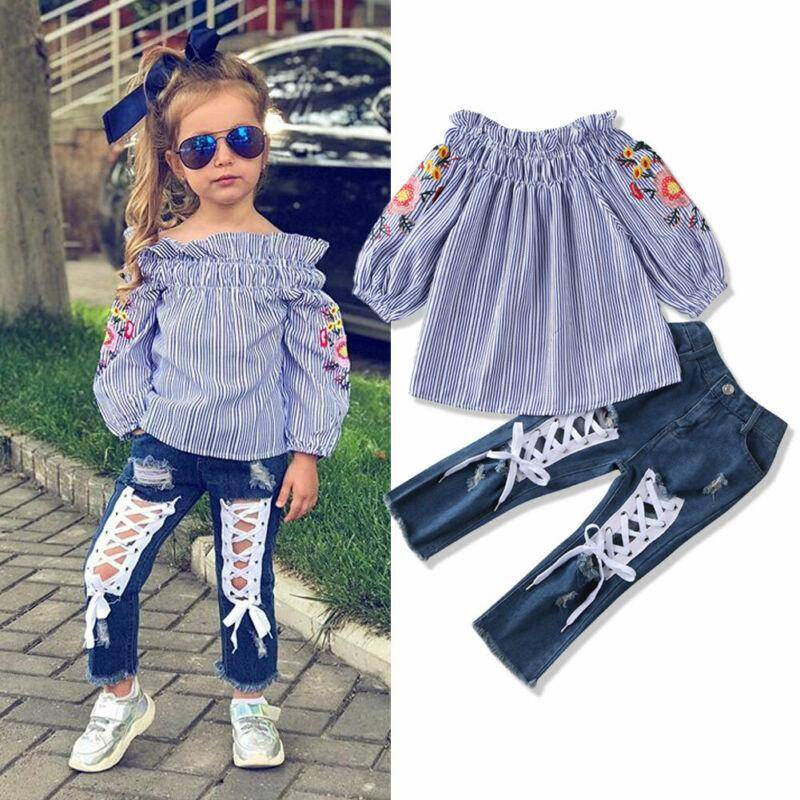 Children Kids Girls Clothes Streetwear 2Pcs Sets Off Shoulder Embroidered Sleeve Tops+ Holes Lace-up Denim Pants Outfits 3-8Y Y200525
