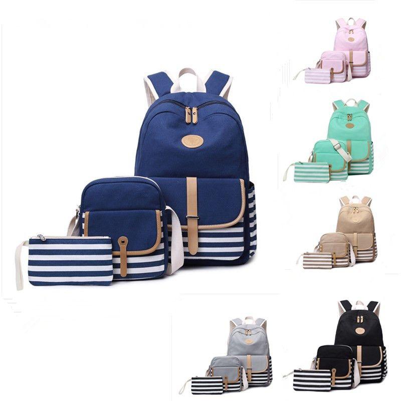 Fashion & New Canvas School Bag for Women 3pcs Backpack Bookbag Laptop Travel Bags New Design Striped