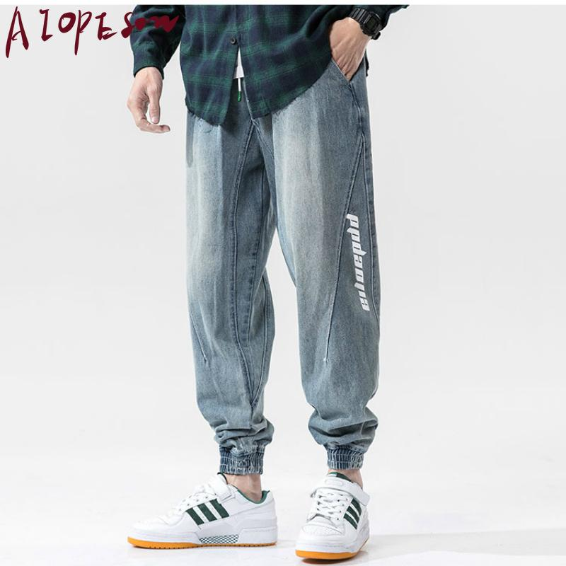 Pantaloni AIOPESON 2020 Feet pantaloni nuovi Mens fascio allentato Fashion Trend Via Retro Jeans Uomo stampa Stitching Sport