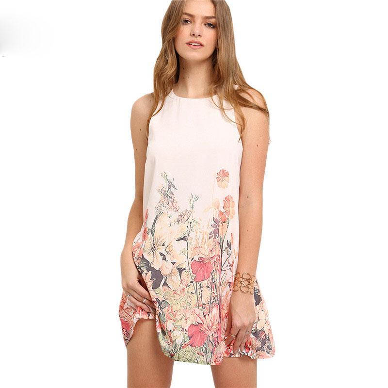 Moda-Bayan Yeni Geliş Çok renkli Kolsuz Çiçek Boho Modelleri Kadın Yaz Yuvarlak Yaka Cut Out Sevimli Shift Elbise yazdır