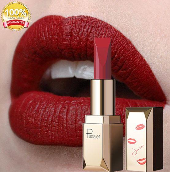 Pudaier Batom Matte Maquiagem Para Os Lábios À Prova D 'Água 26 Cores de Longa Duração Hidratante Lip Tint Pigmento Preto Sexy rouge a levre mat bea150 DHL