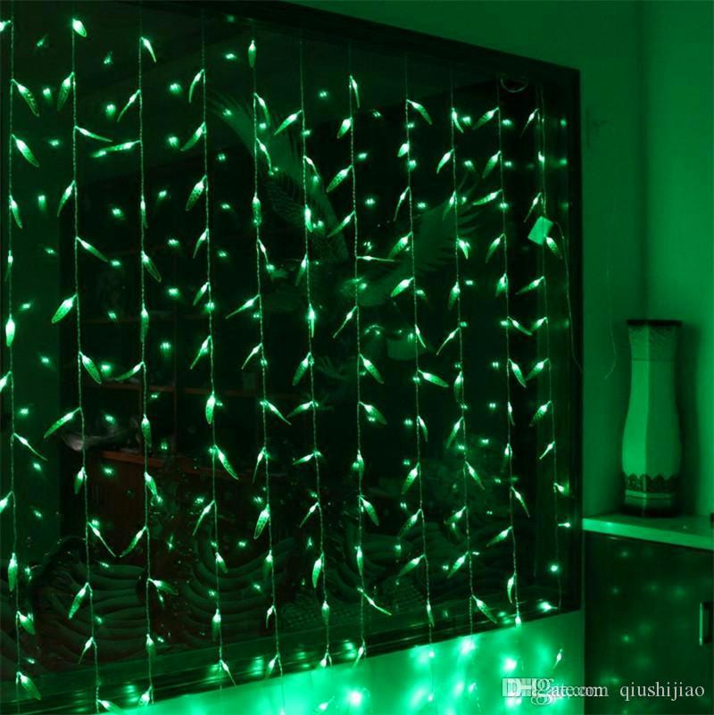 Hot 3m * 3m 300 Lampadine LED Luci di Cortina Di Natale Ghirlanda Capodanno Verde Foglia di Salice String Luce Decorazione Per Giardino Festa Luci di festa