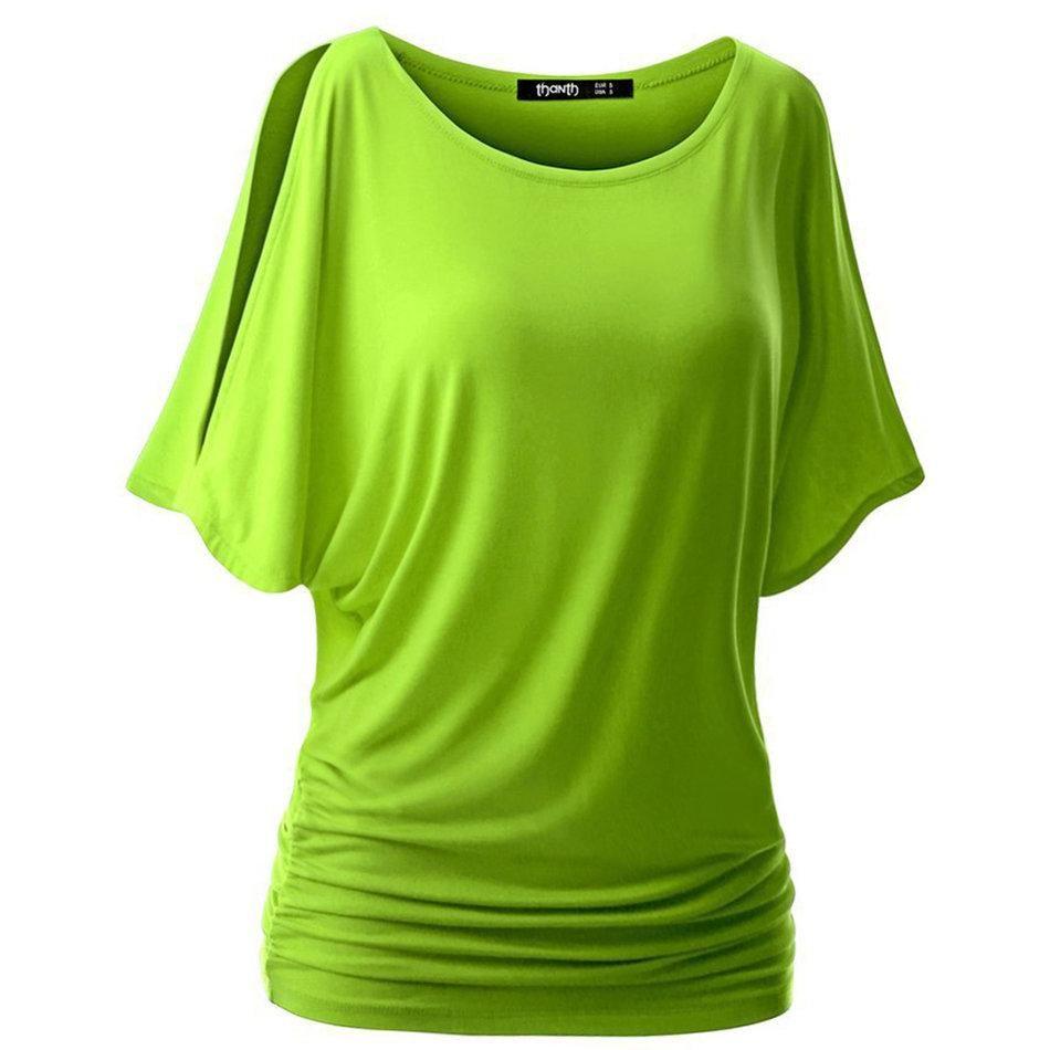 Toptan-Kadınlar Gevşek Yarasa Kol Kısa tişört Casual Slim Yaz O-Boyun Kısa T shirt Tops S-XXL 7 Renk yeni satış Tees