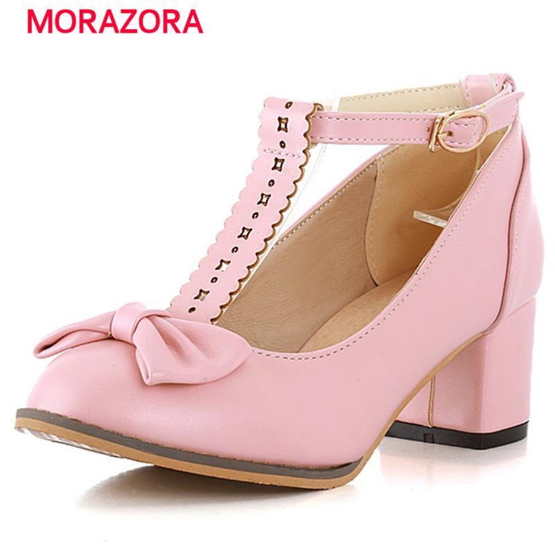 MORAZORA 2020 Neue Schuhe Frau Sandalen cosplayen Zofe Schuhe mit hohen Absätzen 5 cm Schnalle Bowtie süße Art und Weise Sommerschuh