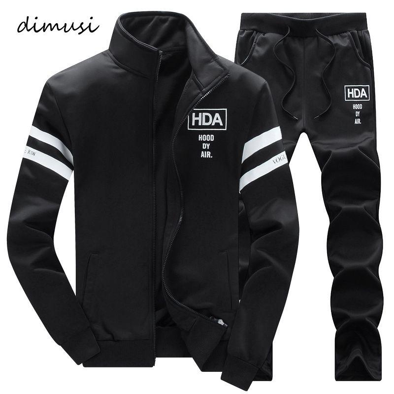 남성용 Tracksuits Dimusi 가을 겨울 남성 Sportwear 정장 남성 outwear tracksuit sweatshirts 2pc 재킷 + 바지 후드 따뜻한 스웨터, TA271