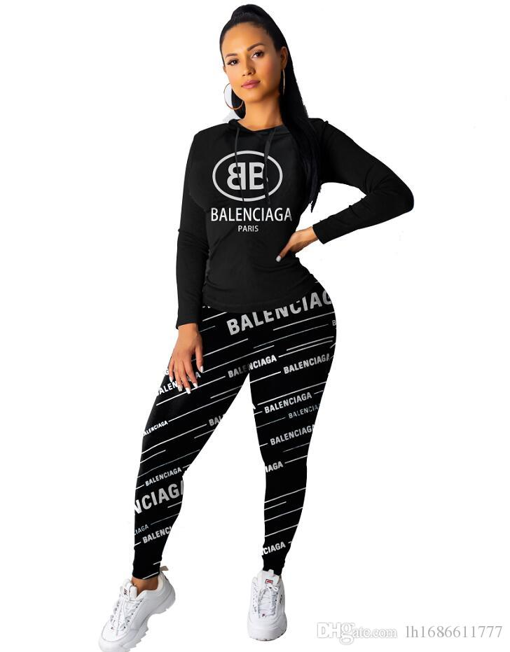 black Letter Print Tracksuits Women Two Piece Set New Design Hooded collar Tops And Tight pants suit Jogger Set Casual 2pcs Sports suit
