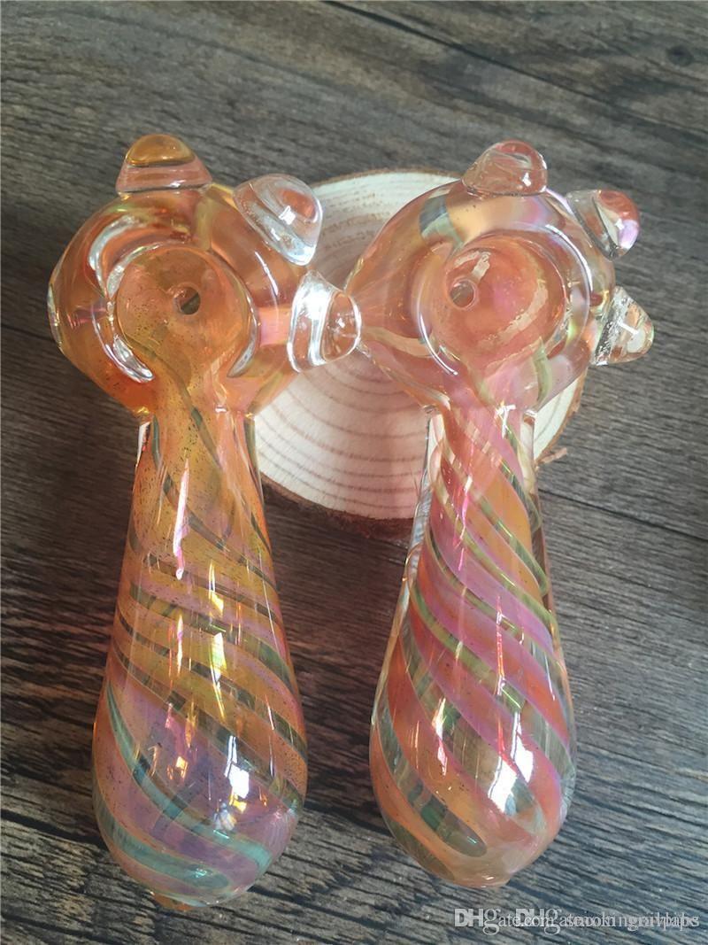 Verre arc-en-main Pipes en verre Pyrex pas cher tabac cuillère Pipes Mini Petit bol Tuyau unique Pot Pipes fumeurs