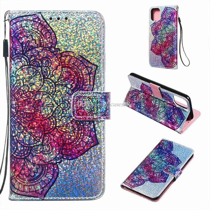 para IPhone 11 Pro Glitter Funda de Cuero Funda con Cremallera