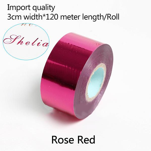 Transferência 3CM * 120 metros / Rose Red Rolls Hot Stamping Papel térmico anodizado papel dourado para Couro PU Carteira Hot Stamping