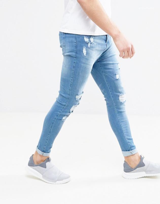Pantalones masculinos Hombres Pantalones Denim Blue Jeans para hombre del motorista rasgado Diseñador pitillo