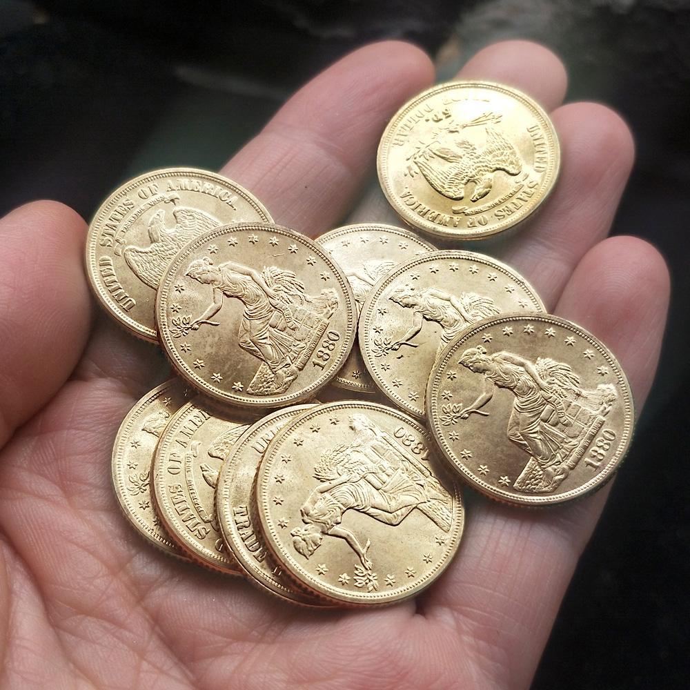 10 Ad ABD Oturan özgürlük Küçük altın sikke 1880 Kopya 23mm Koleksiyonu paralar