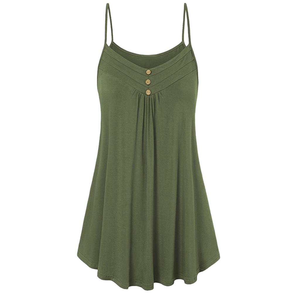 Plus Size Solid Loose Button Camisole Summer Casual V Neck Tank Tops Fashion Sleeveless Vest Blouse Ropa Mujer Verano 2019#Y15