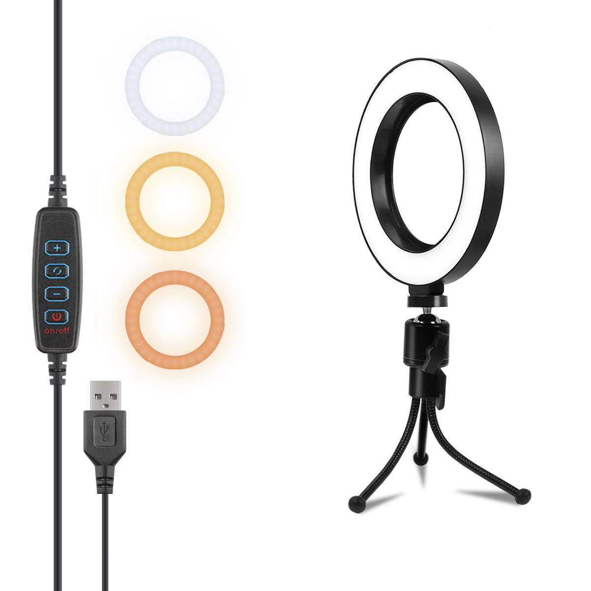 LED حلقة الضوء، 6 بوصة ماكياج خفيف، خاتم الخفيفة مع ترايبود حامل ليوتيوب فيديو اطلاق النار الخفيفة