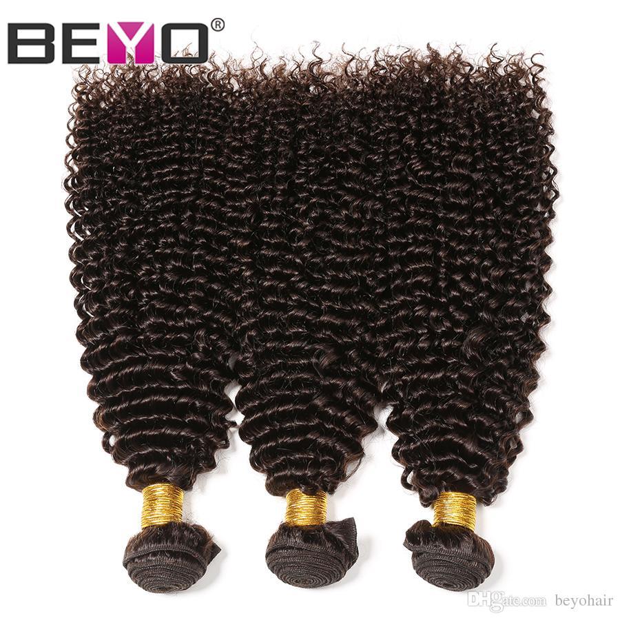 Kinky Curly Bundles Dark Brown Raw Virgin Indian Hair 100% Human Hair Weave Bundles #2 Color 3 Bundle Deals 10-24 Inch Remy Beyo