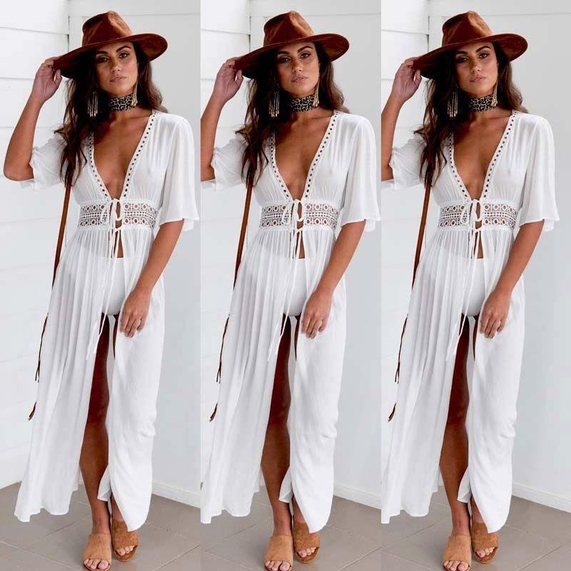 2020 verão quente mulheres venda rendas cobertura do biquíni até Long Beach pareo robe de plage mulheres saida beachwear túnica