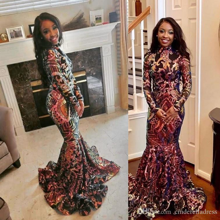 Black Vintage High Neck Mermaid Long Sleeve Evening Dresses 2K19 African Sweep Train Prom Pageant Gowns
