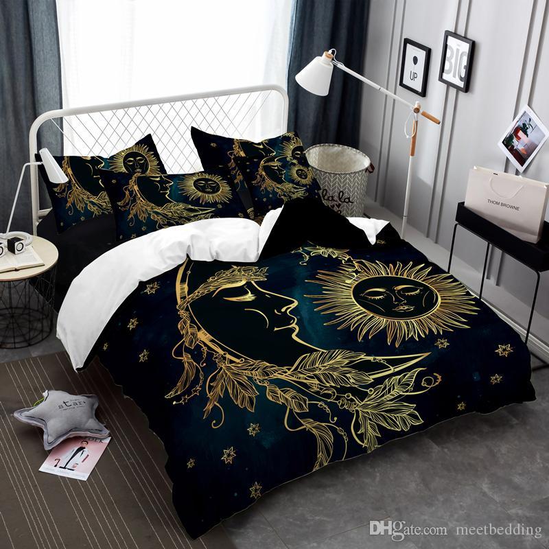 Populaire plaqué or Literie avec double pleine Queen Size housse de couette 2 / 3pcs avec Taie style chinois lit ensemble