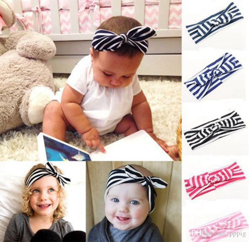 2019 European and American fashion men and women children with striped bow headband baby multicolor headband