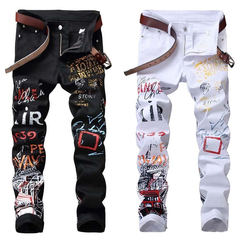 العلامة التجارية مصمم العلامة التجارية الأعلى جينز الرجال جينز للرجال الدينيم جان للرجال طباعة سروال مصمم أزياء الرجال الجينز ثقوب بنطلون إيطاليا