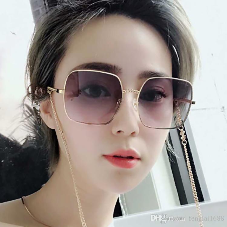 Nova tendência da celebridade da web óculos de sol Das Mulheres praça grande quadro óculos de sol de metal DouYin xiaohong livro recomendado óculos