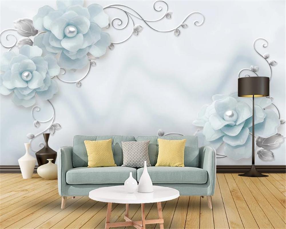 3d 벽지 간단하고 아름다운 보석 꽃과 덩굴 예술 거실 침실 배경 벽 훈장 벽화 벽지