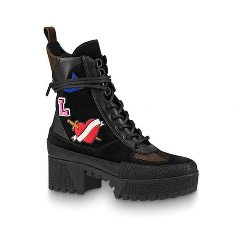 Joelho Plataforma Desert Bota Lady Moda overcloud Sapatinho Sneakers Couro 1a43r7 Laureate Platform (com Caixa + poeira Bag) somente o tamanho 35-41