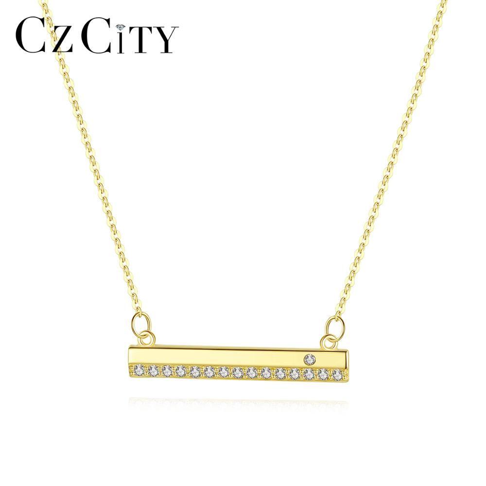 CZCITY أصيل 14K الذهب شريط طويل قلادة قلادة للمرأة مع AAA CZ ساحرة سلسلة قلادة 14K الذهب الأصفر مجوهرات N14156