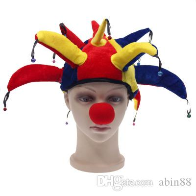 2019 New Halloween Clown hat Masquerade Decoration Cosplay Red Clown Hat For Adult Child With Carnival Funny Party Cap(With Clown nose)