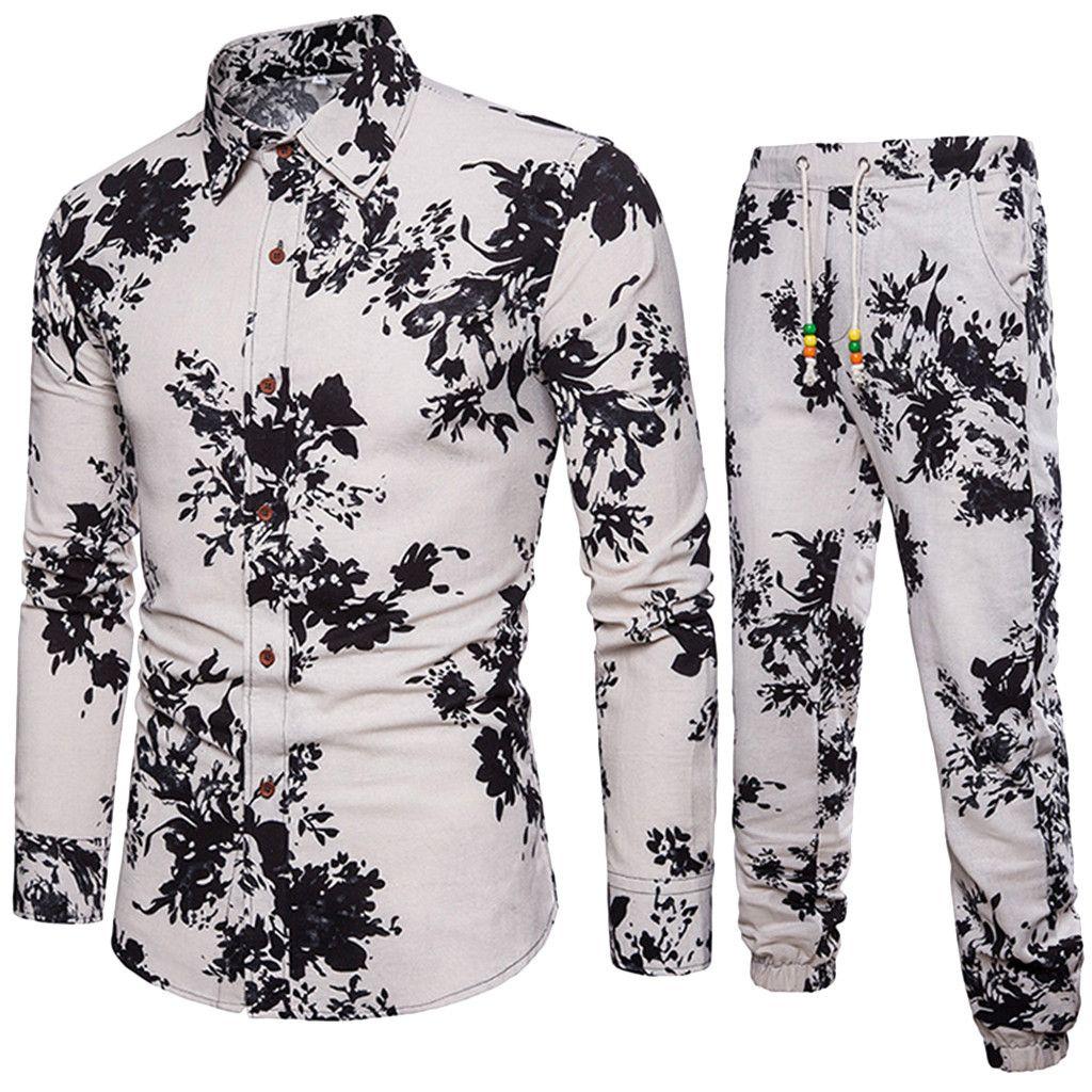 Sommer-Blumenmuster-Männer Sets dünne beiläufige fit Hemd Folk Custom bequemes Material Leinen Neue Bluse Top Hosen