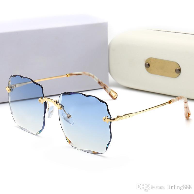 Top-Qualität Glaslinse Square Frame Mode Frauen Beschichtung Sonnenbrille Sommer Designer-Weinlese-Steigung fahren Sonnenbrille mit ursprünglichem Kasten