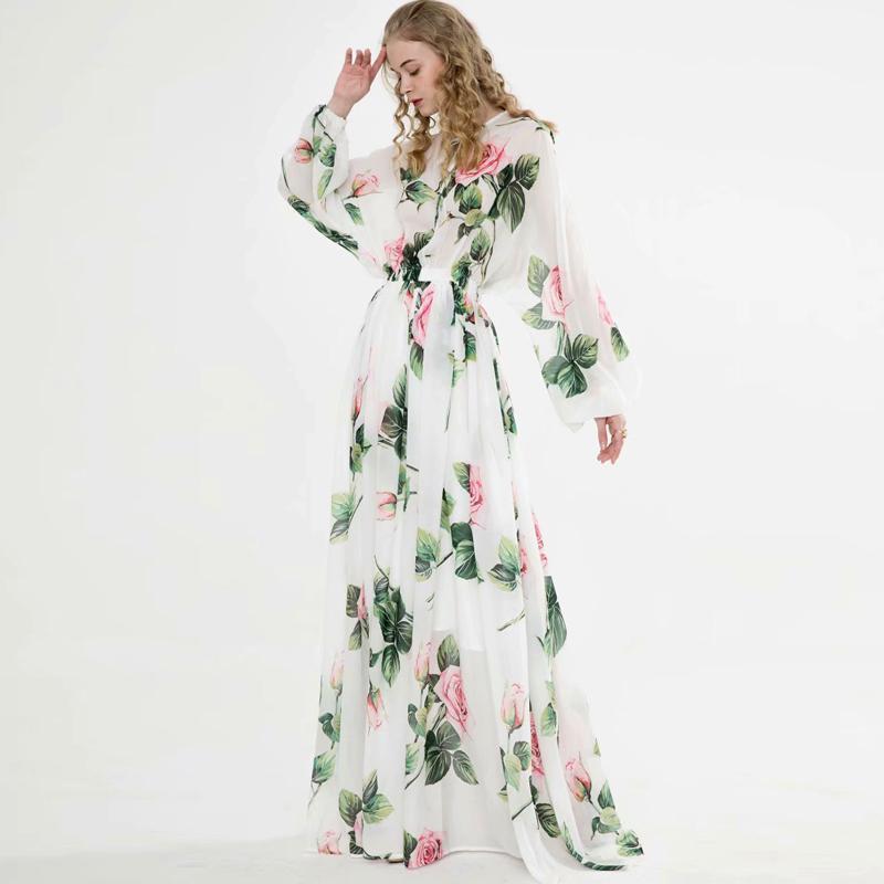 المرأة المدرج فساتين O عنق طويل الأكمام الزهور مطبوعة ربط الحذاء حتى أنيق ماكسي تصميم فستان عارضة Vestidos