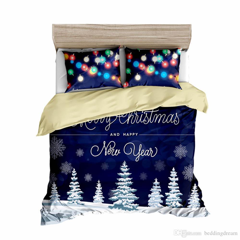 Weihnachten Bettwäsche-Set King Size Fashion Fantasie 3D Printed Bettbezug Luxuxkönigin Volleinzeldoppelbett-Abdeckung mit Pillowcase 3pcs