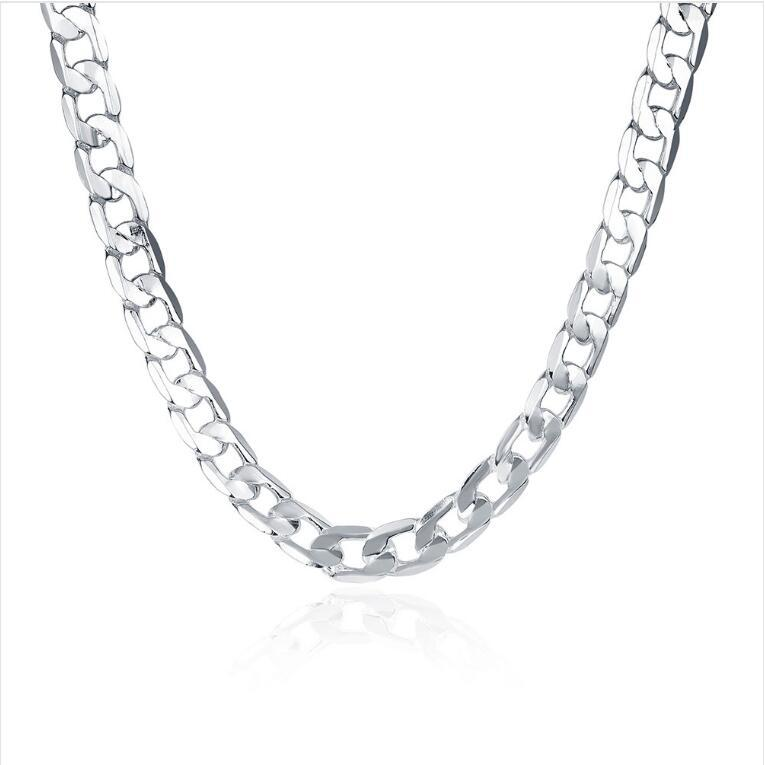 Покрытие серебра ожерелье 20 дюймов Мужских 10M плоских вбок Цепочки ожерелья DHSN005 горячих ювелирных продажи 925 серебряных пластинчатые Цепей
