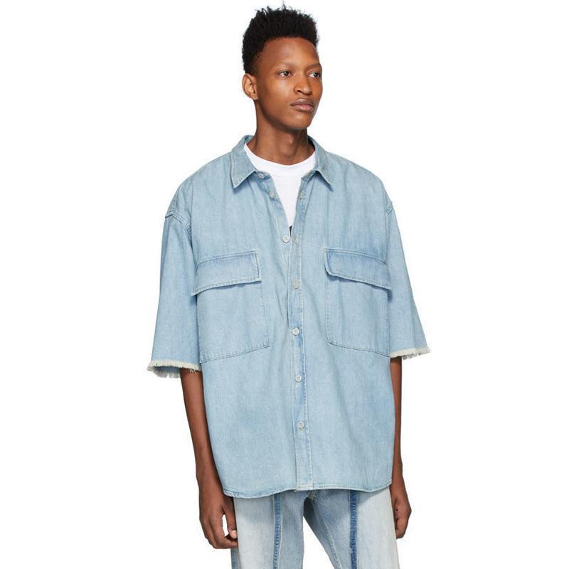 20SS FG Washed Denim vintage tee nuevo estilo ocasional simple Herramientas de manga corta camisas High Street camiseta respirable del verano tee HFYMTX827