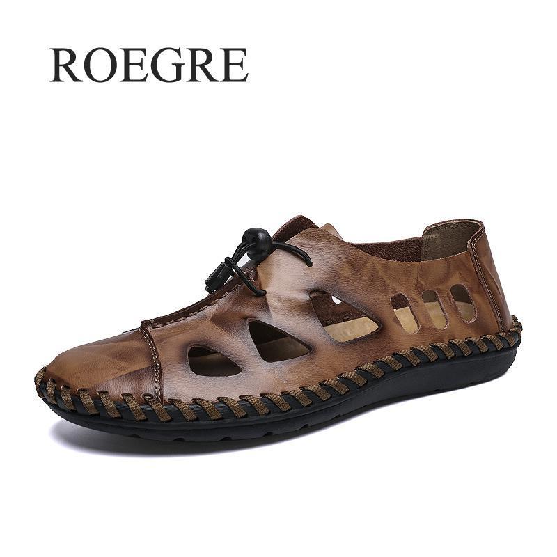 2019 новые летние сандалии мужчины дышащий высокое качество натуральная кожа сандалии человек квартиры мода повседневная пляж Мужская обувь размер 48