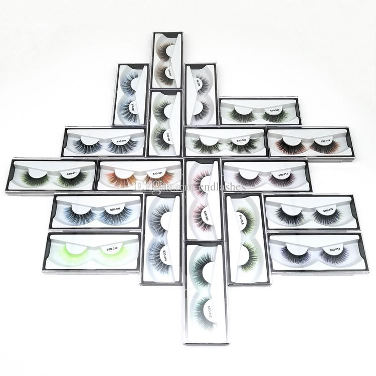 Free Shipping Colored 3D Faux Mink Eyelashes Private LOGO Acceptable Colorful 3D Silk Eyelashes Dramatic False Lashes