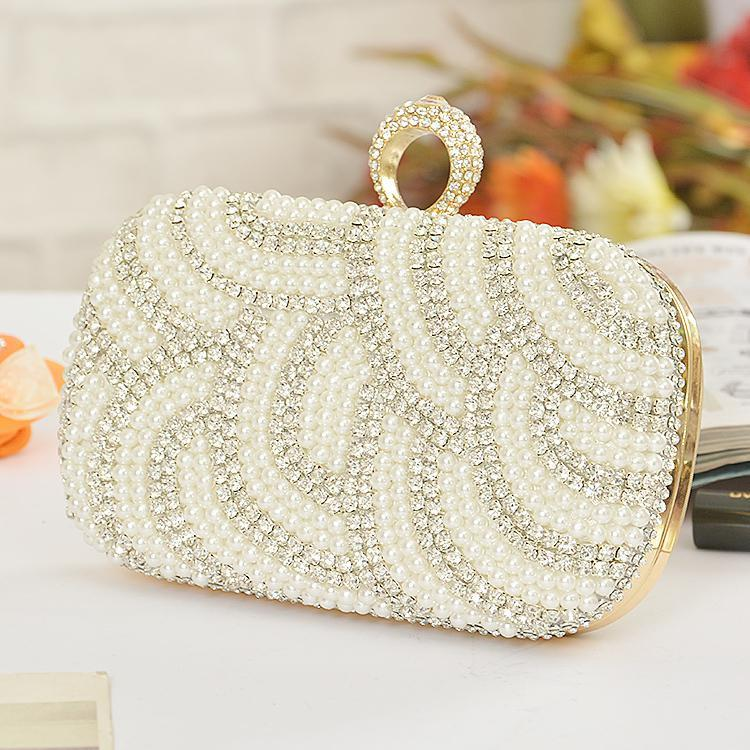 Newest Free Shipping Hand Bags Pearl Evening Bag Diamond Gold Clutch Gorgeous Bridal Wedding Party Chain Handbags Accessories
