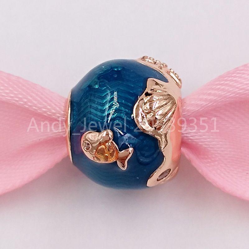 Perles d'argent sterling authentiques 925 Pandora rose chatoyant Ocean Waves Fish Moments Charm Charms Convient au soutien-gorge de bijoux de style Pandora européen